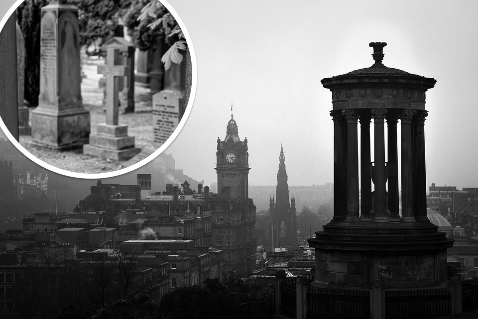 Spooky panoramic view of old Edinburgh and an inset of one of its graveyards