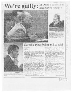 Newspaper clipping details the watchmen pleading guilty to holding teens captive at St. Anne's