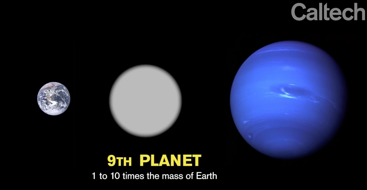 Catech graphic showing possible ninth planet