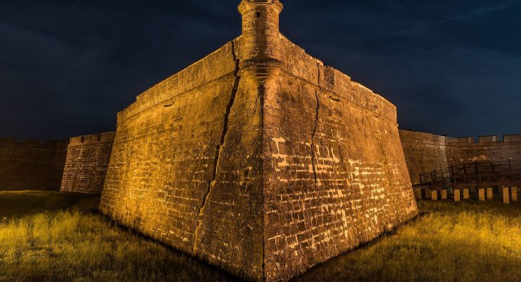 Castillo de San Marcos by night, it is said to be haunted