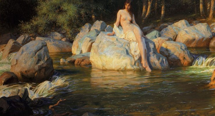 Painting of a Kelpie in human form by Herbert James Draper in 1913