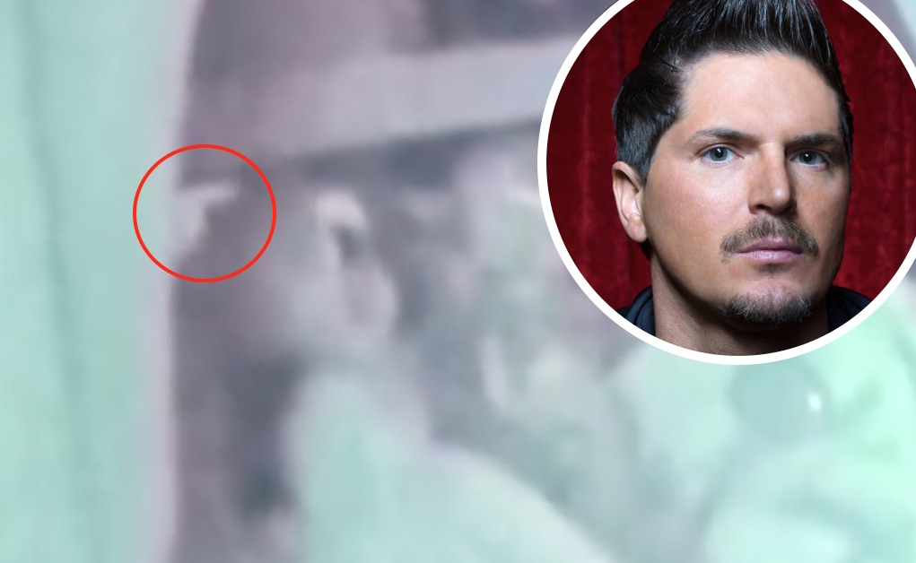 Zak Bagans and an inset of a doll's hand pointing from behind a curtain