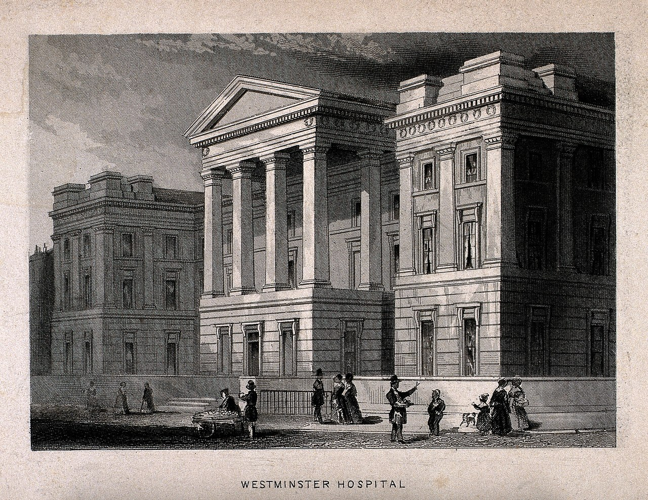 An engraving of the old St George's Hospital in London