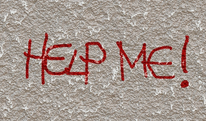 'Help Me!' written on wall in red