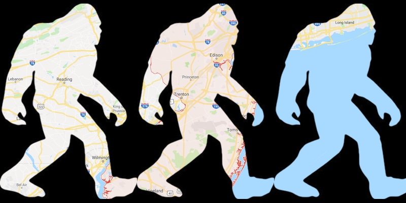 Bigfoot sillouette over map of New Jersey