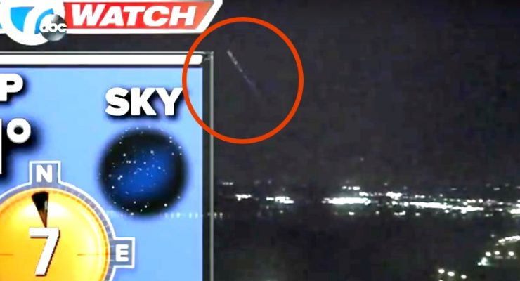 'UFO' sighting on live weather report